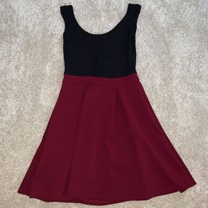 Simple black and maroon dress